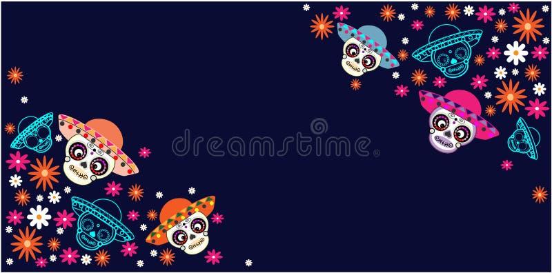 Cinco de马约角,死,墨西哥假日,节日的天 导航海报、横幅和卡片与糖头骨有帽子和花的 向量例证