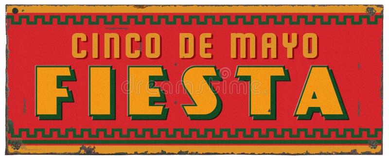 Cinco De马约角党节日艺术难看的东西金属标志 免版税图库摄影