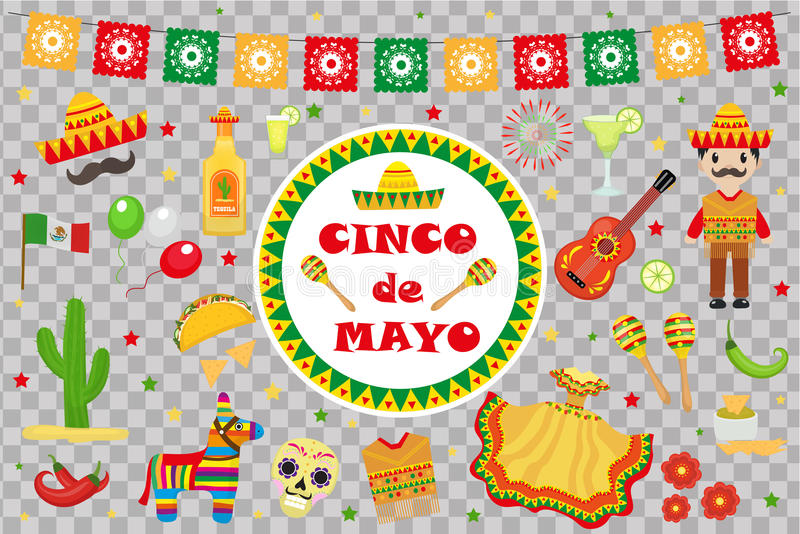 Cinco de马约角庆祝在墨西哥,象设置了,设计元素,平的样式 Cinco de马约角游行的汇集对象 库存图片