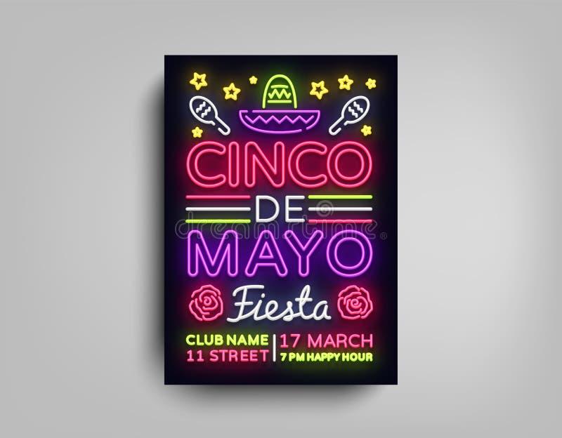Cinco de马约角海报设计霓虹样式模板 霓虹灯广告,明亮的轻的霓虹飞行物,轻的横幅,印刷术,墨西哥 皇族释放例证