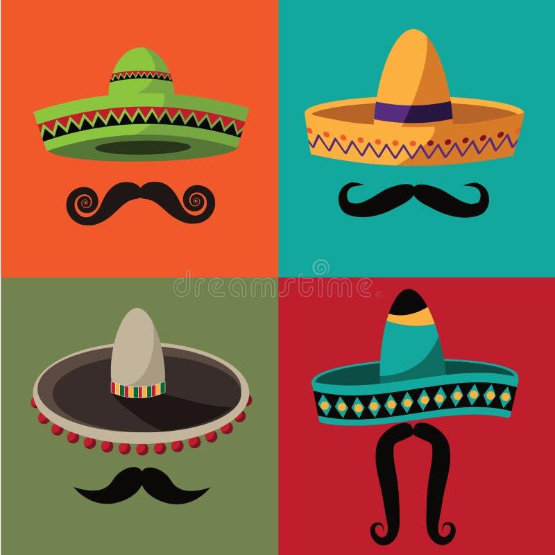 Cinco De马约角阔边帽和髭海报 向量例证