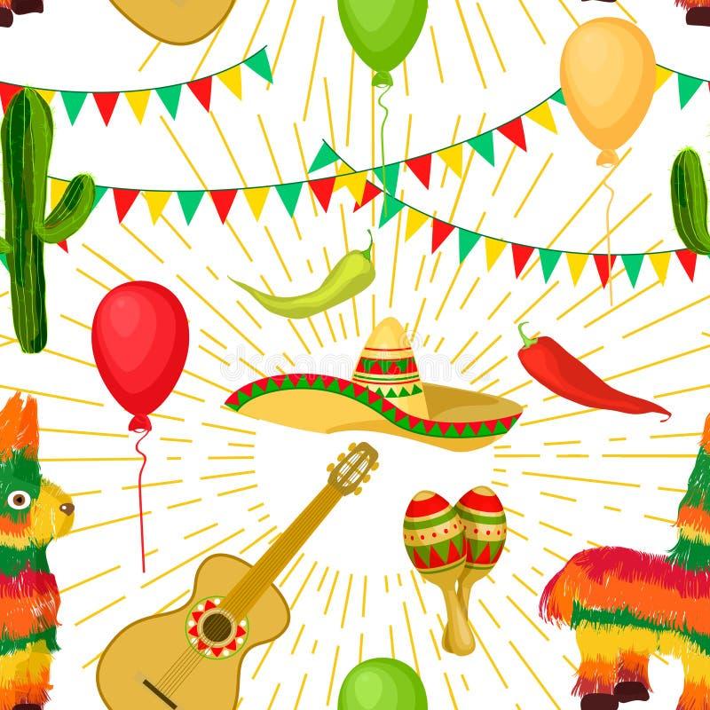 Cinco de马约角墨西哥欢乐无缝的样式 库存图片