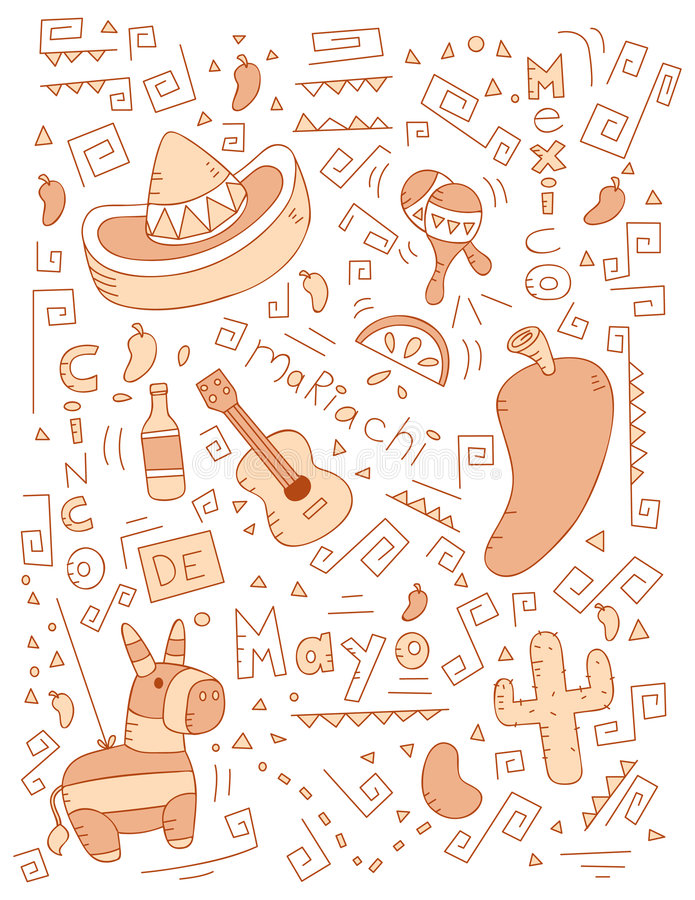 cinco de doodle Mayo ilustracji