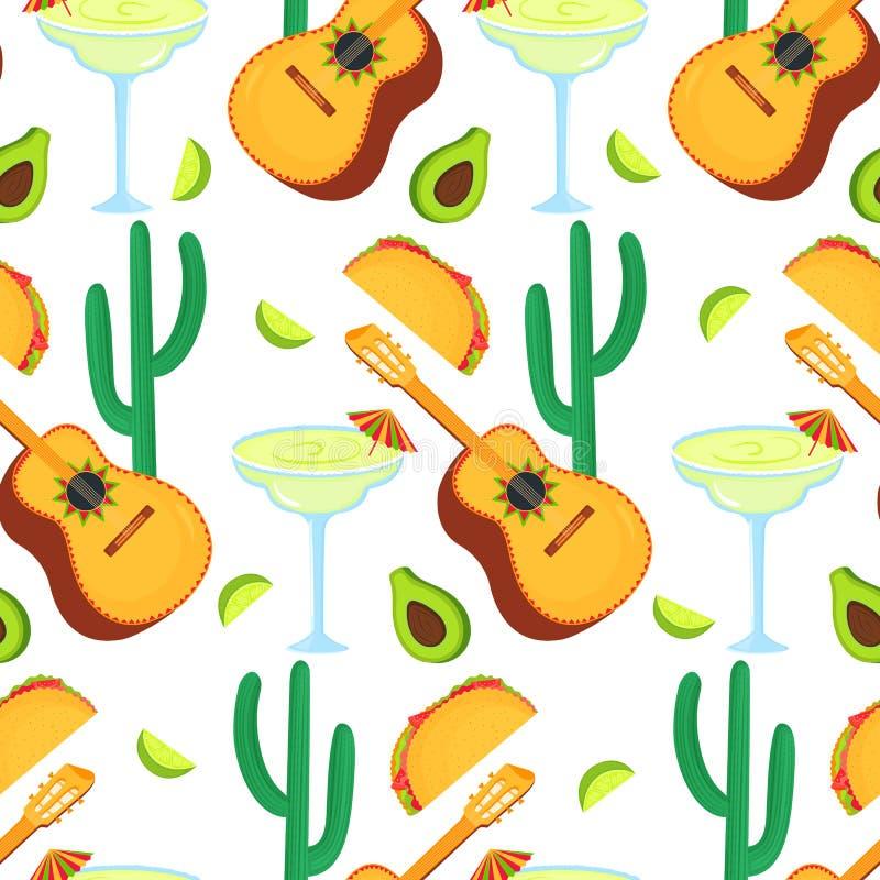 cinco de mayo 5?me le mai Guitarrone, cactus, taco, avocat, margarita - clipart aux vacances mexicaines nationales sans couture illustration libre de droits