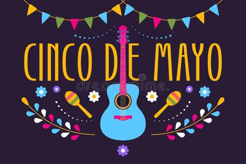 Cinco de Mayo świąteczny projekt dla Meksykańskiego wakacje Kolorowy sztandar 5 Maj w Meksyk z gitarą, kwiatami, maraca i flaga, royalty ilustracja