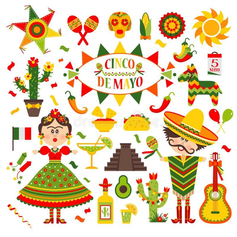 Cinco de Mayo świętowanie w Meksyk, set, projekt ikony Inkasowi przedmioty dla Cinco de Mayo paradują z pinata, jedzenie royalty ilustracja