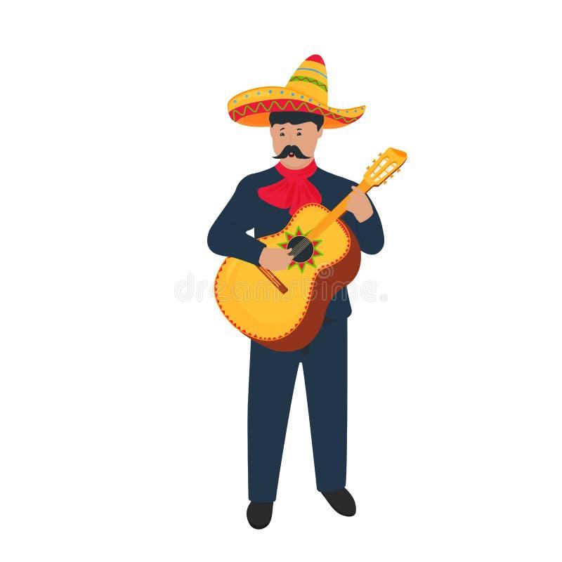 cinco de mayo 5ος του Μαΐου mariachi Μεξικάνικος μουσικός οδών στο εθνικό κοστούμι που παίζει το guitarron απεικόνιση αποθεμάτων