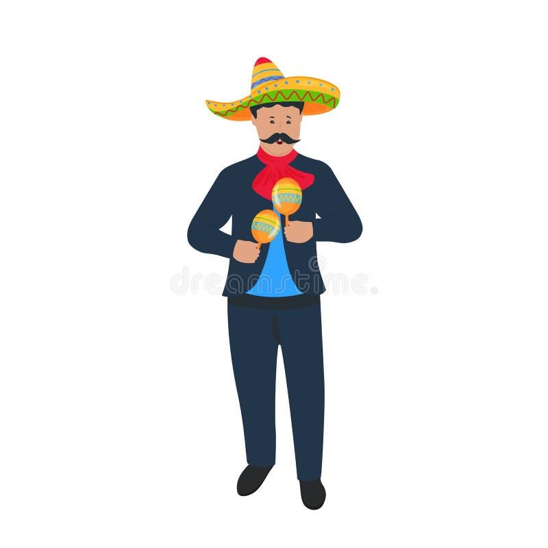cinco de mayo 5ος του Μαΐου mariachi Μεξικάνικος μουσικός οδών στο εθνικό παιχνίδι κοστουμιών στα maracas Παραδοσιακός μεξικάνικο απεικόνιση αποθεμάτων