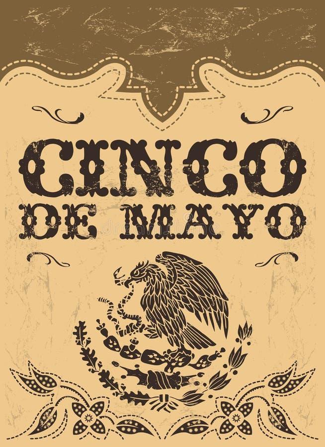 Cinco de mayo - мексиканский плакат вектора праздника - прочешите шаблон