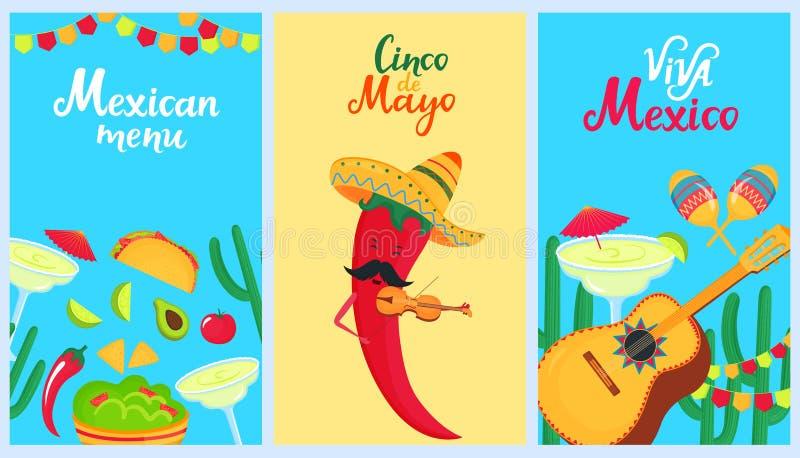cinco de mayo 5-ое -го май Набор плакатов праздника к мексиканскому национальному празднику Sombrero, кактус, guitarron, maracas, иллюстрация вектора