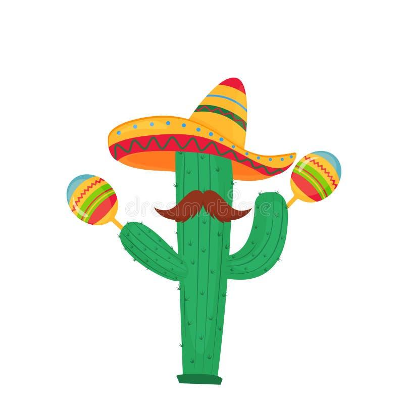 cinco de mayo 5-ое -го май Смешной кактус мультфильма с усиком в sombrero играя на maracas иллюстрация вектора