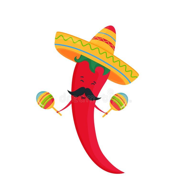 cinco de mayo 5-ое -го май Смешной chili мультфильма в sombrero играя на maracas иллюстрация штока