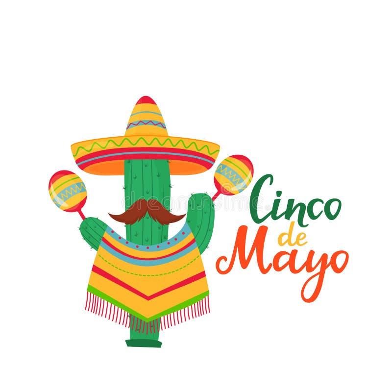 Литерность Cinco de Mayo 5-ое из знамени в мае Национальный мексиканский праздник Смешной кактус с усиком в плащпалате и иллюстрация вектора