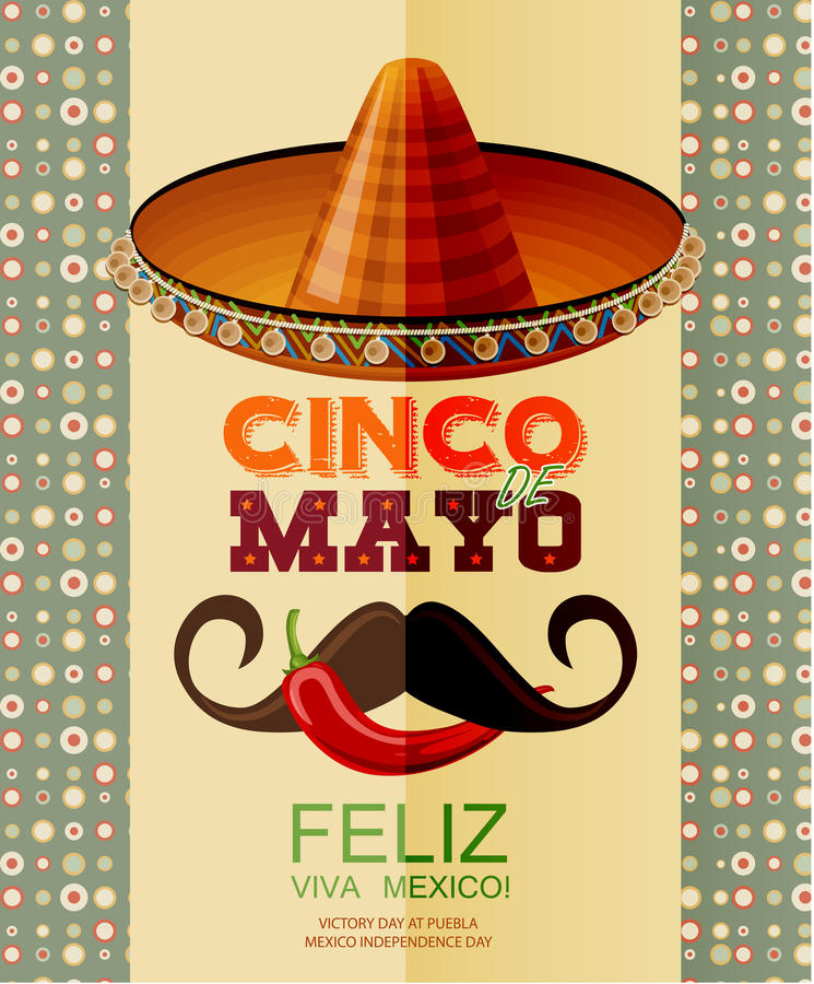 cinco de mayo Плакат с sombrero, chili, мексиканским усиком