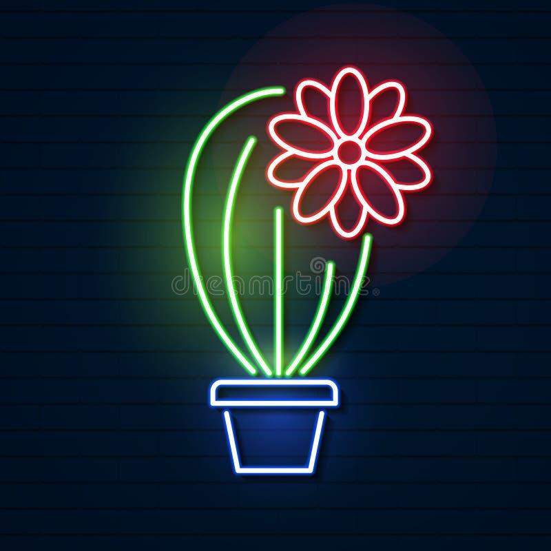 cinco de mayo 霓虹明亮的标志 墨西哥 仙人掌 象征 库存例证