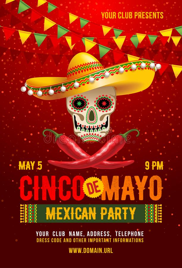 Cinco de Mayo-affiche royalty-vrije illustratie