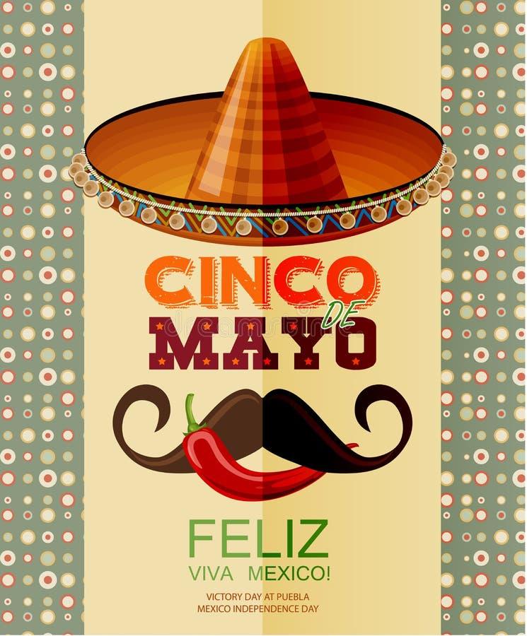 cinco de mayo Affiche avec le sombrero, piment, moustache mexicaine