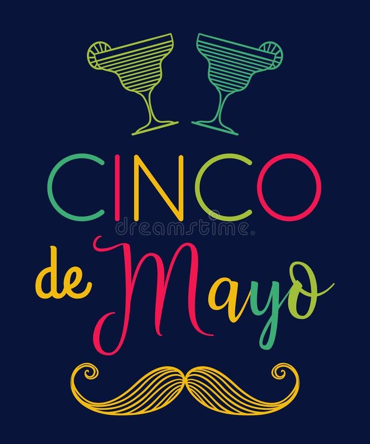 cinco de mayo Affiche de typographie avec des cocktails de moustache et de margarita illustration stock