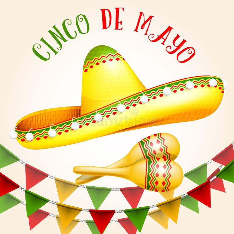Cinco de Mayo-affiche met sombrero en maracas vector illustratie