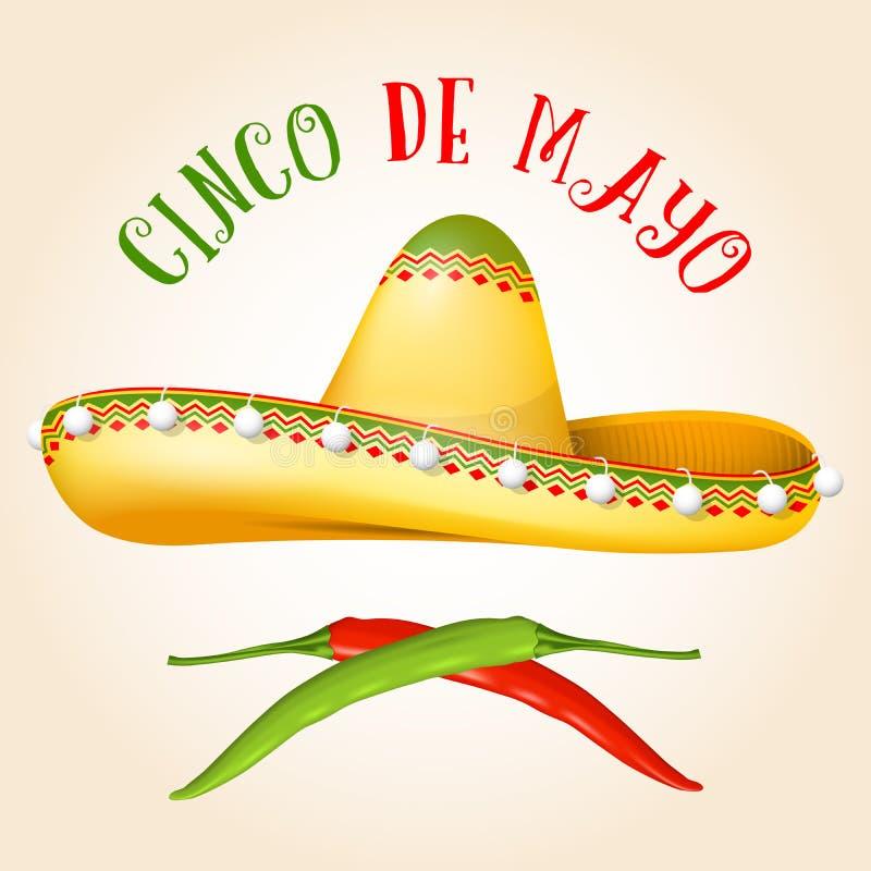 Cinco de Mayo affisch med sombreron och varm peppar stock illustrationer