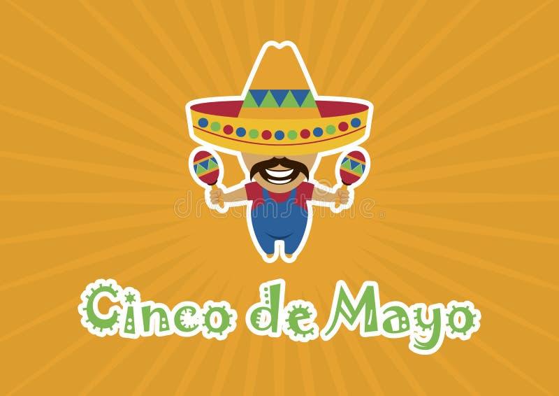 Cinco de Mayo avec un vecteur mexicain de musicien illustration stock