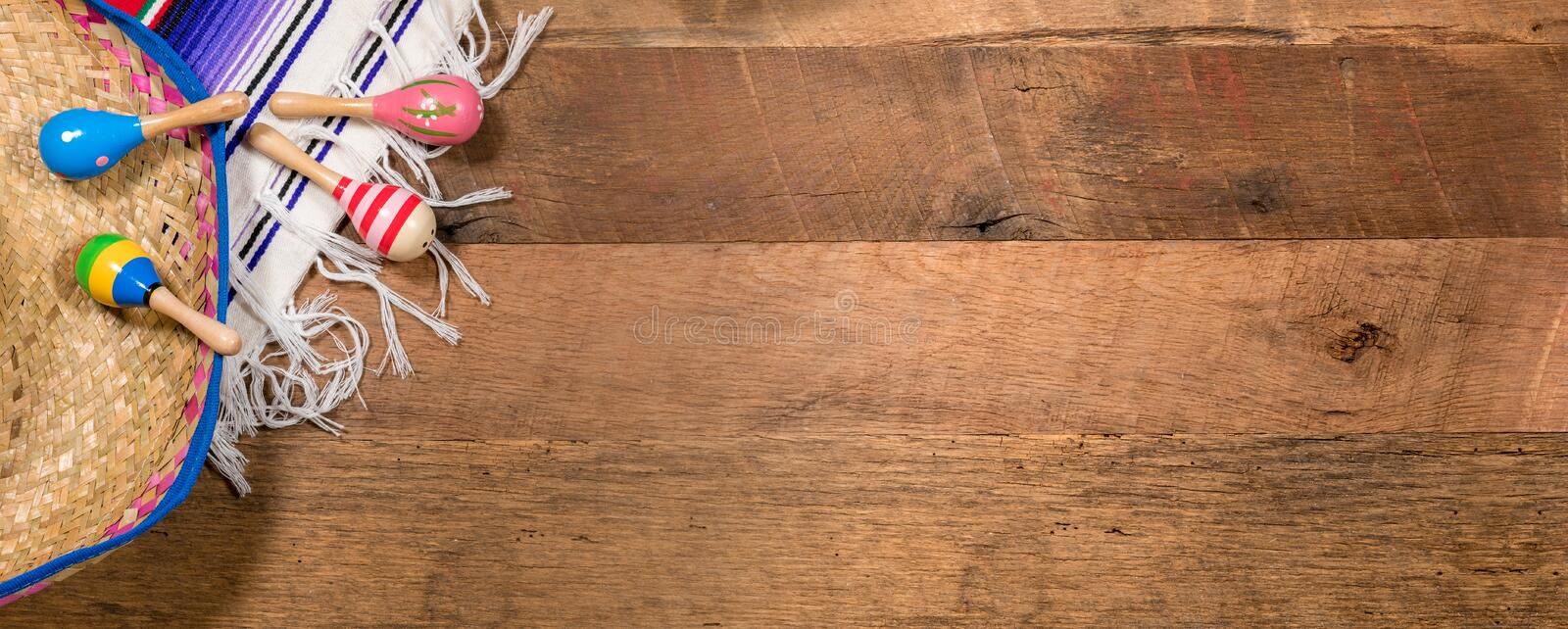 Cinco de Mayo background on wooden boards royalty free stock photography