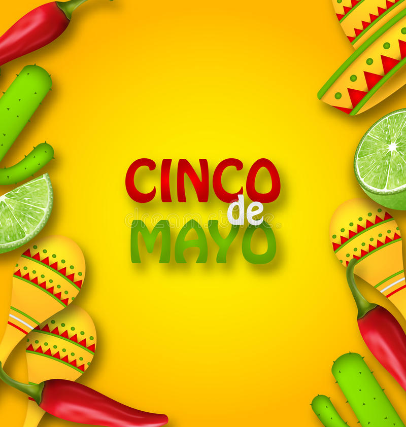Cinco De Mayo Background with Mexican Traditional Symbols. Illustration Cinco De Mayo Background with Mexican Traditional Symbols. Chili Pepper, Sombrero Hat stock illustration