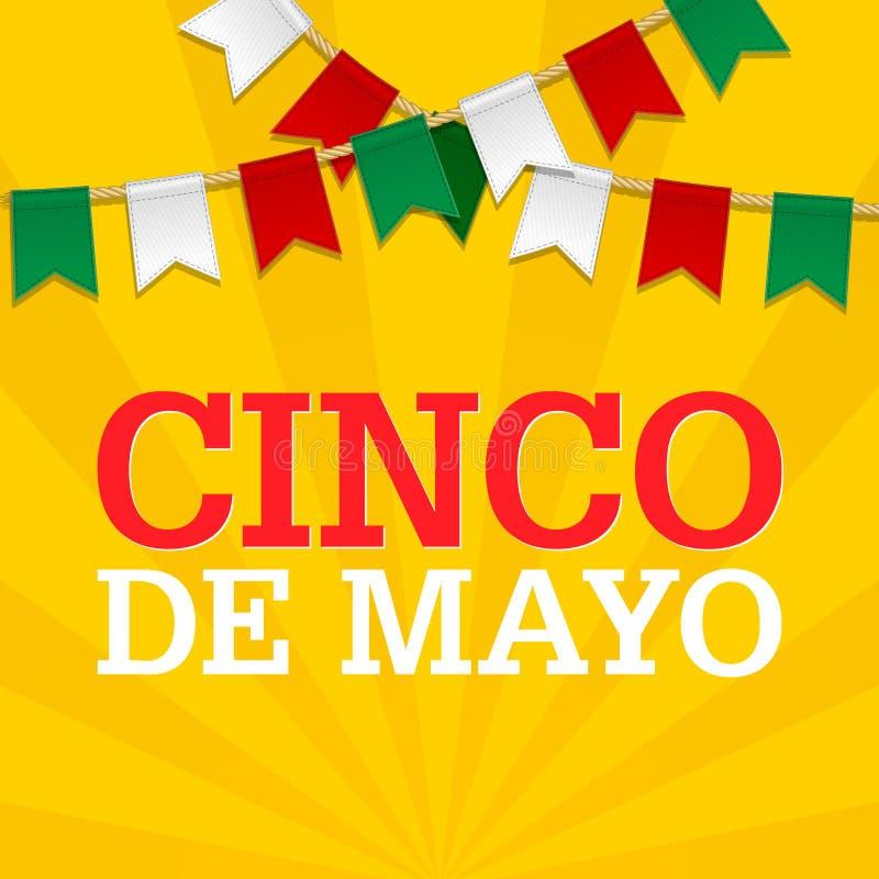 Cinco De Mayo bakgrund för en beröm som rymms på Maj 5 Mexicansk feriemall i färger av nationsflaggan stock illustrationer
