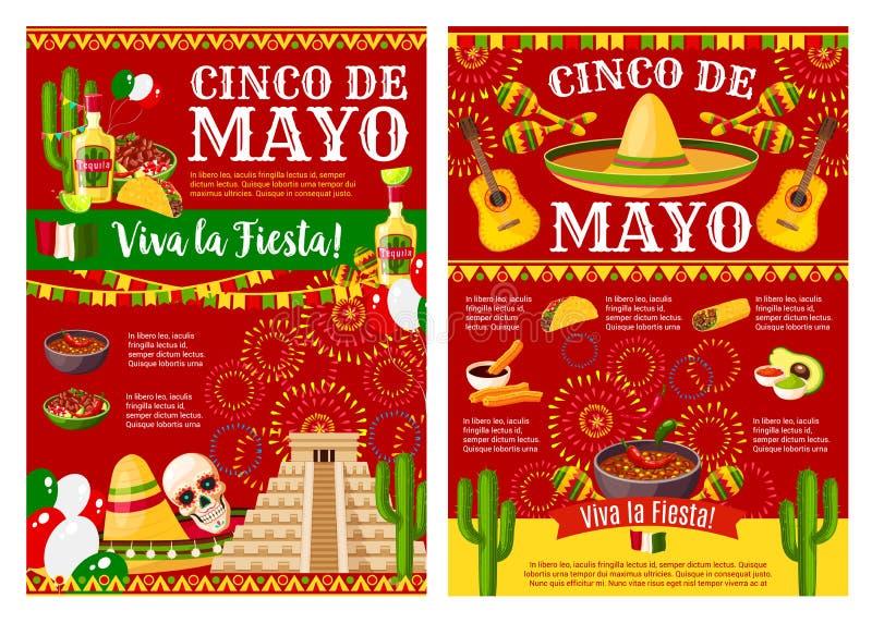 Cinco de Mayo baner för mexikanskt ferieparti stock illustrationer