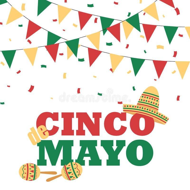 Cinco de Mayo baner med buntings royaltyfri illustrationer