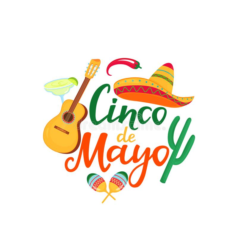 Cinco de Mayo banner. Hand drawn lettering. 5th of May. Festive mexican advertising poster. Sombrero, guitar, cactus, chili pepper. Maracas, margarita cocktail vector illustration