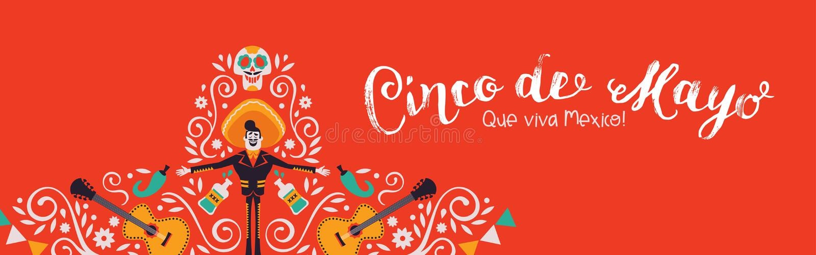 Cinco de Mayo banner of mariachi hat decoration. Cinco de Mayo web banner illustration for Mexican independence celebration. Traditional hat shape made of mexico royalty free illustration