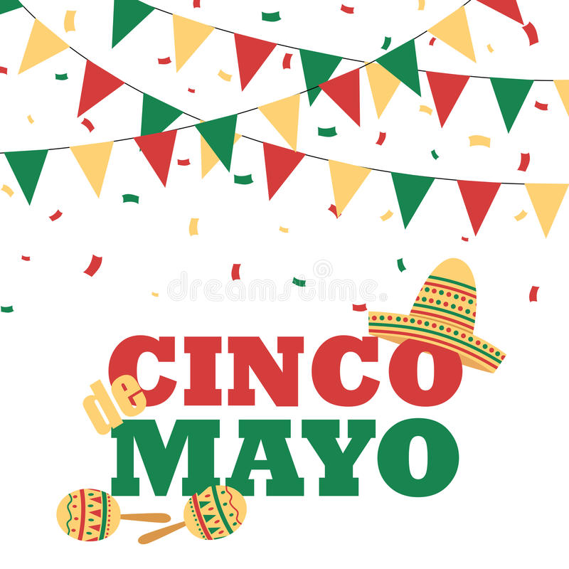 Cinco de Mayo-banner met buntings royalty-vrije illustratie