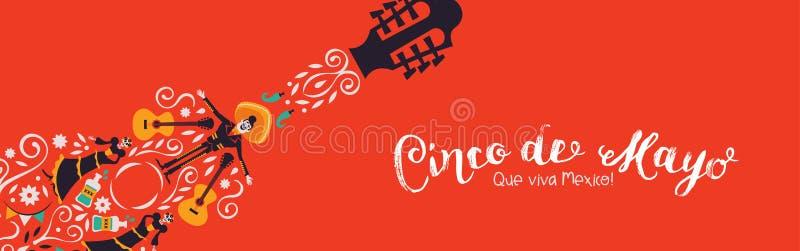 Cinco de Mayo-banner van de decoratie van de mariachigitaar royalty-vrije illustratie