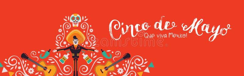 Cinco de Mayo-banner van de decoratie van de mariachihoed royalty-vrije illustratie
