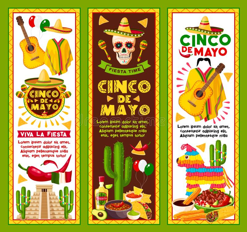 Vector banners for Cinco de Mayo Mexican holiday royalty free illustration