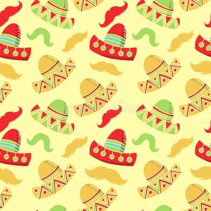 Cinco de mayo beröm, åtföljande sömlös vektormodell för festliga hattar stock illustrationer