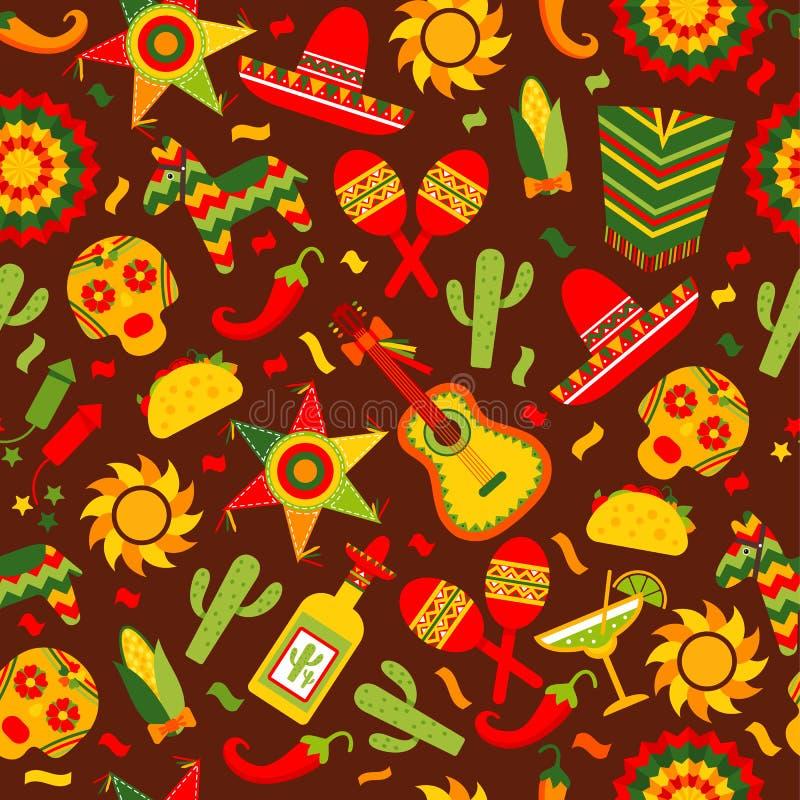 Cinco de Mayo beröm i Mexico, sömlös modellondbrunt med, mat, sambrero, tequila, kaktus vektor royaltyfri illustrationer