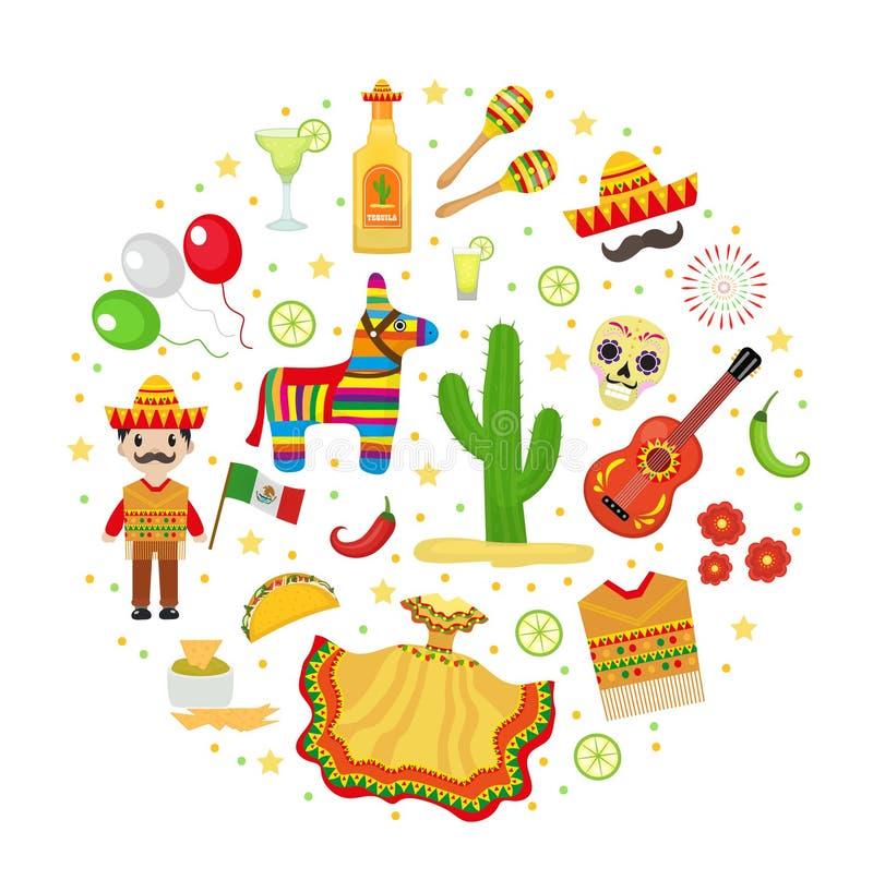 Cinco de Mayo beröm i Mexico, symboler ställde in i rund form, designbeståndsdelen, lägenhetstil också vektor för coreldrawillust royaltyfri illustrationer