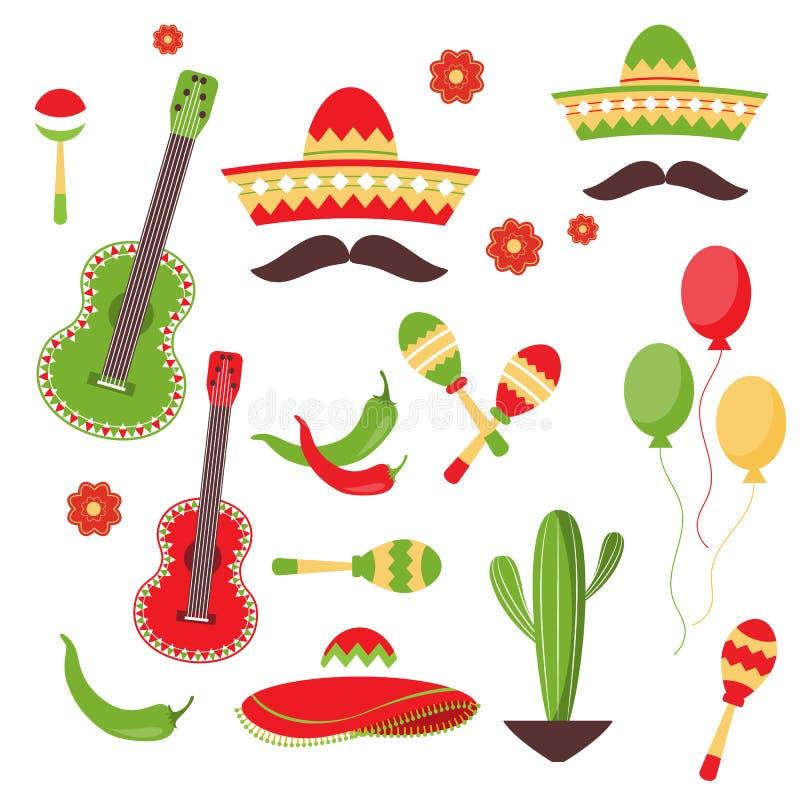 Cinco de Mayo beröm i Mexico, symboler ställde in, planlägger beståndsdelen, lägenhetstil vektor illustrationer