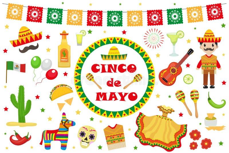 Cinco de Mayo beröm i Mexico, symboler ställde in, planlägger beståndsdelen, lägenhetstil Samlingen anmärker för Cinco de Mayo st royaltyfri illustrationer