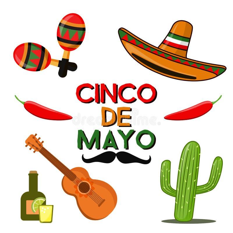 Cinco de Mayo beröm i Mexico, symboler ställde in, planlägger beståndsdelen, lägenhetstil Samlingen anmärker för Cinco de Mayo st stock illustrationer