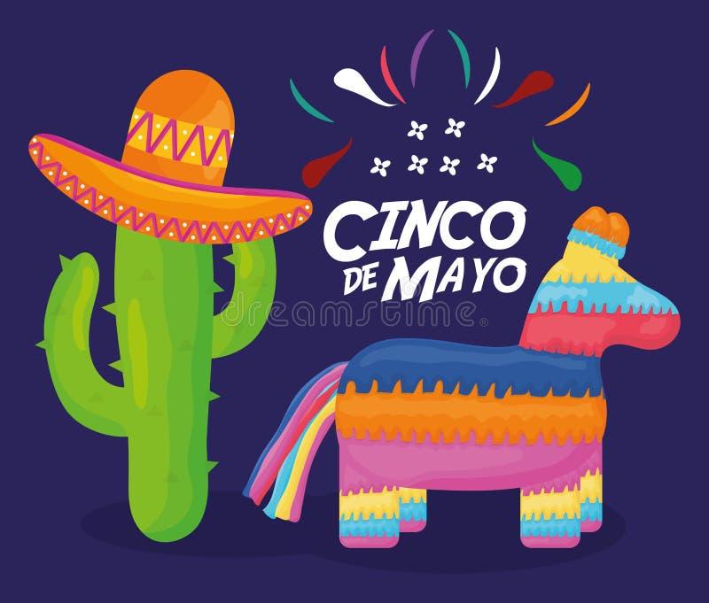 Cinco de mayo beröm med pinata och mexikanska symboler stock illustrationer