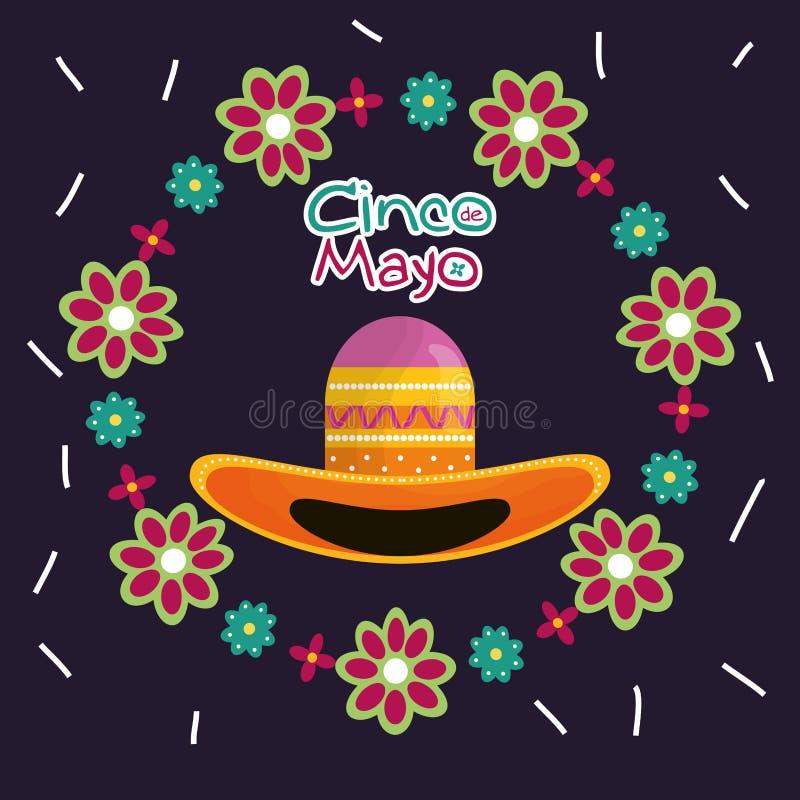 Cinco de mayo berömkort med den mexikanska hatten royaltyfri illustrationer