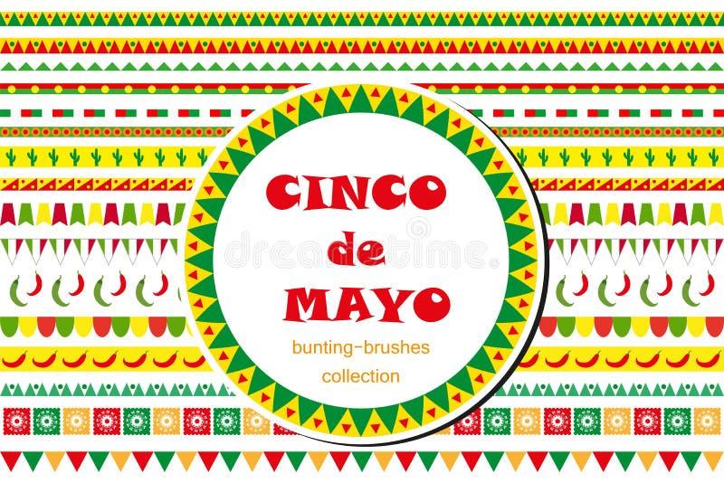 Cinco de Mayo berömuppsättning av gränser, prydnader som bunting Plan stil som isoleras på vit bakgrund vektor royaltyfri illustrationer