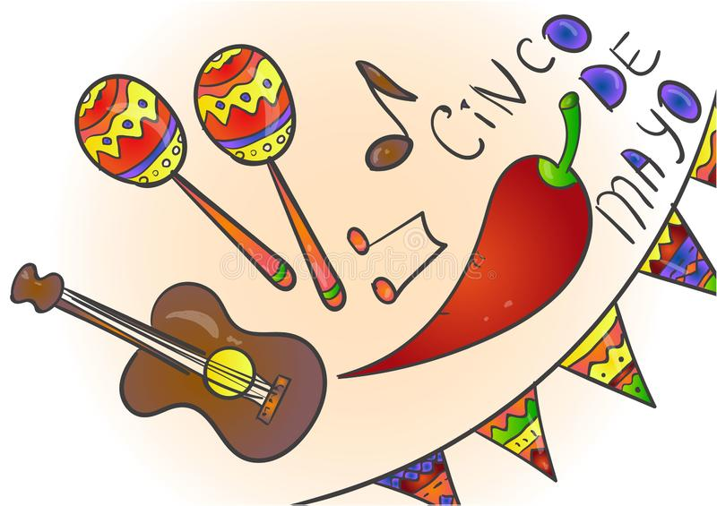 Cinco de Mayo ber?m i Mexico, symboler st?llde in, planl?gger best?ndsdelen, l?genhetstil Samlingsobjekt f vektor illustrationer