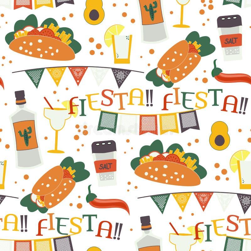 Cinco de Mayo bezszwowy wzór z tradycyjnymi Meksykańskimi symbolami ilustracja wektor
