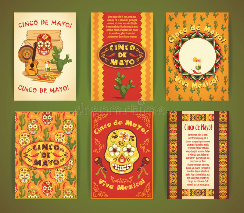 Cinco de Mayo. Big set of vector templates with traditional Mexi vector illustration