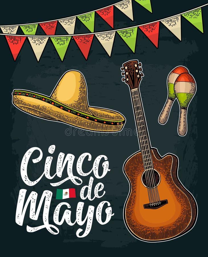 Cinco de mayo bokstäver Girland-, maracas-, sombrero- och gitarrgravyr royaltyfri illustrationer