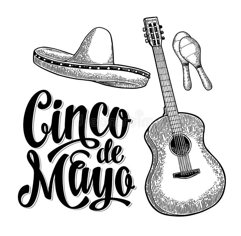 Cinco de Mayo bokstäver och gitarr, maracas och sombrero royaltyfri illustrationer